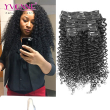 Super quality malaysian curly clip in hair extensions