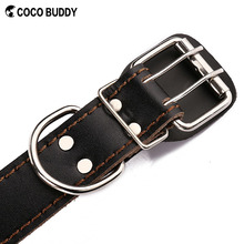 Pet Dog Collar Genuine Leather With Metal Rivet OEM