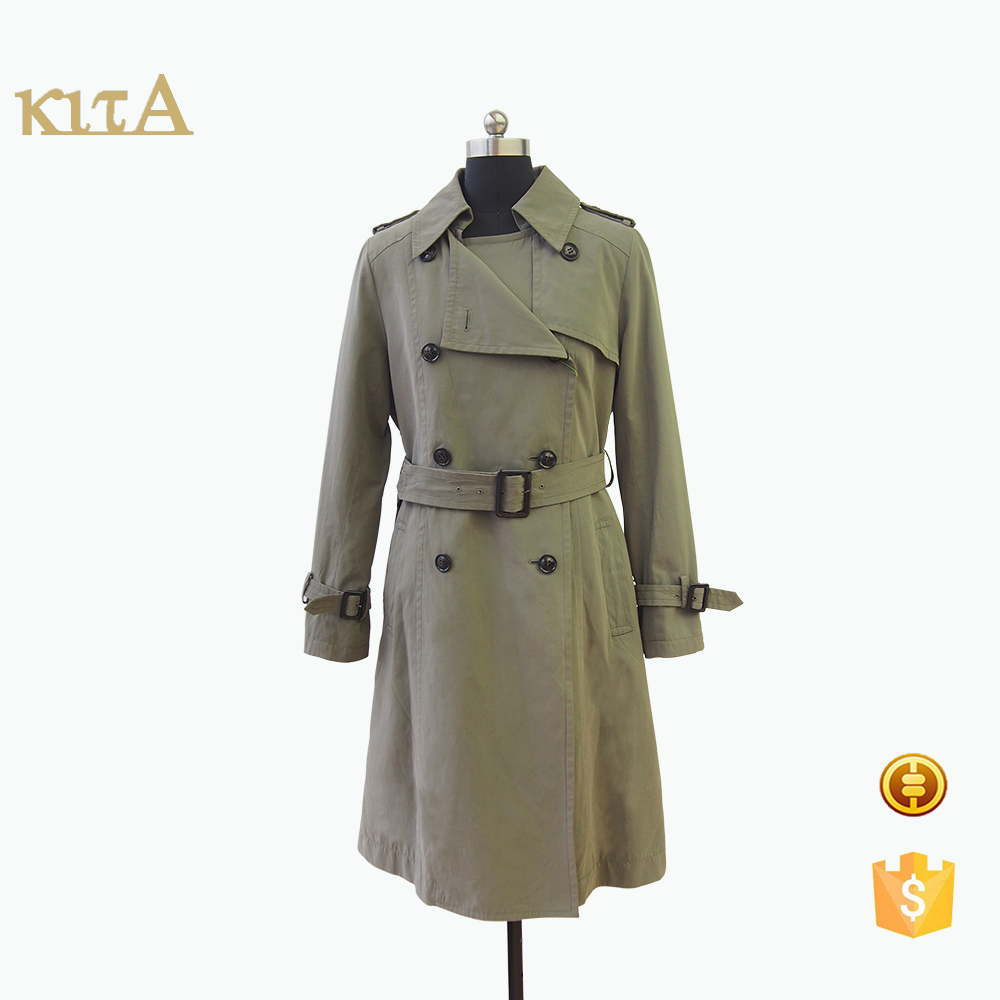 Double-breasted two-way collar cuff strap mid-calf length coat