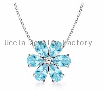Blue Pear Aquamarine and Diamond Flower Pendant hebrew name necklace