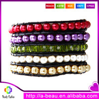 ABS colorful pearl beads green glass beads wrap on leather cord beaded jewelry bracelet