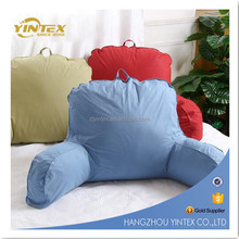 Cotton Fabric Bed Reading Waist Pillow Back Cushion with Arm Reading Pillow