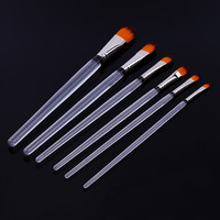 Art Baroque 6 Pcs Plastic Handle Filbert Shape Nickel Ferrules Artist Paint Brushes Set for Watercolor Oil Acrylic Face Painting