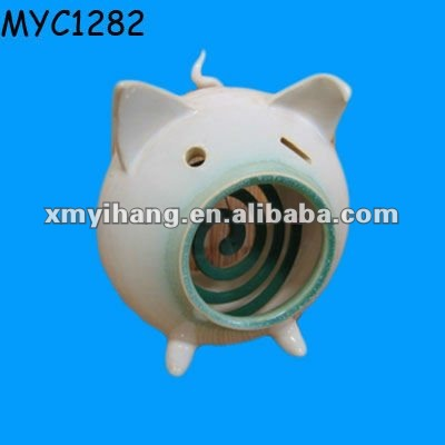Ceramic pig shaped unique mosquito coil holder