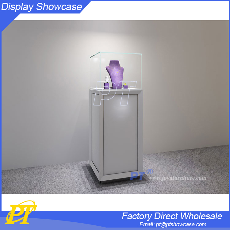 High end short glass display cabinet and showcase for jewelry and crystal shop