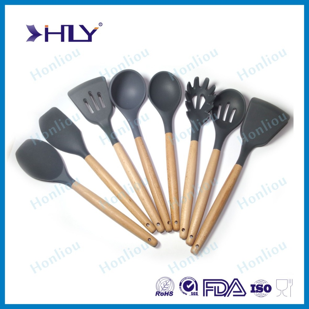 Hot selling silicone kitchen cooking utensils with beech wood handle