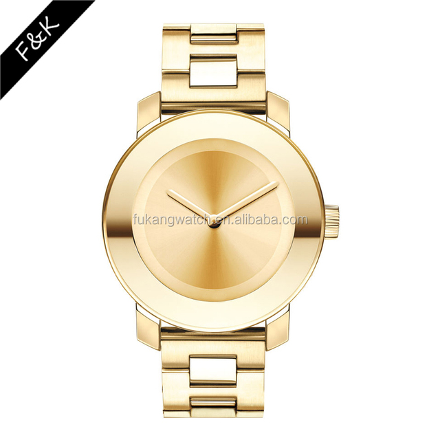 luxury quality men gold color 5 atm water resistant stainless steel watch