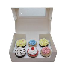 2017 Hot Selling Paper Cake Box Custom Cupcake Containers 12 Pack mini Cupcake box with PET window