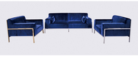 Luxury modern stainless steel Fabric sofa set living room furniture