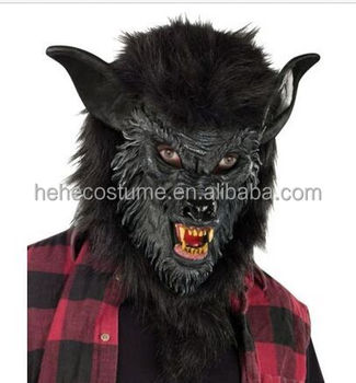 Black Hairy Werewolf Wolf Wolfman Scary Mask,balck hairy wolf mask