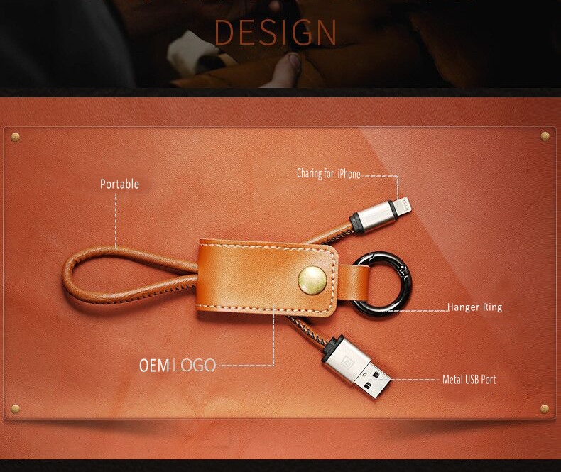 Leather Key Chain Designed 2.4A Fast Charging USB Cable for iPhone for ipad portable usb cable
