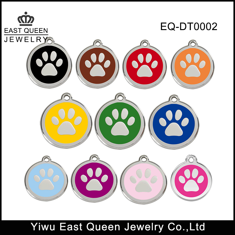 Stainless Steel Colorful Enamel Painted Cute Pet Paw Shaped Dog Tag
