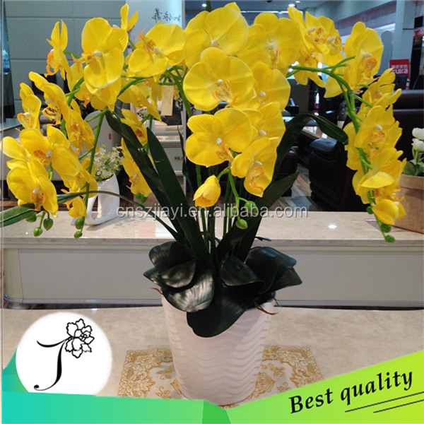 Ceramic potted artificial yellow orchid table centerpiece