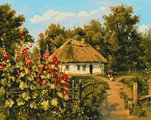 GX8417-40*50 village scenery handmade landscape oil painting on canvas