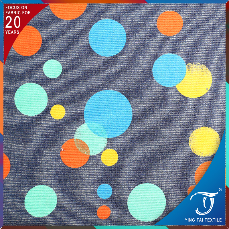 Colorful printed denim fabric 100% cotton polka dots fabric