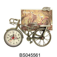 Multi Funtional Analog Table Alarm Clock Bike Shaped Fashion Clock With Photo Frame For Decoration Creative Gifts House Decor