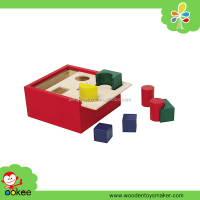 2016 Educational nontoxic painted colored wooden geometry shaped materiales montessori box toys for kid