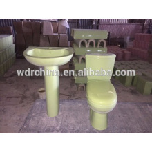 Light green bathroom set toilet bowl and pedestal basin with twins outlet