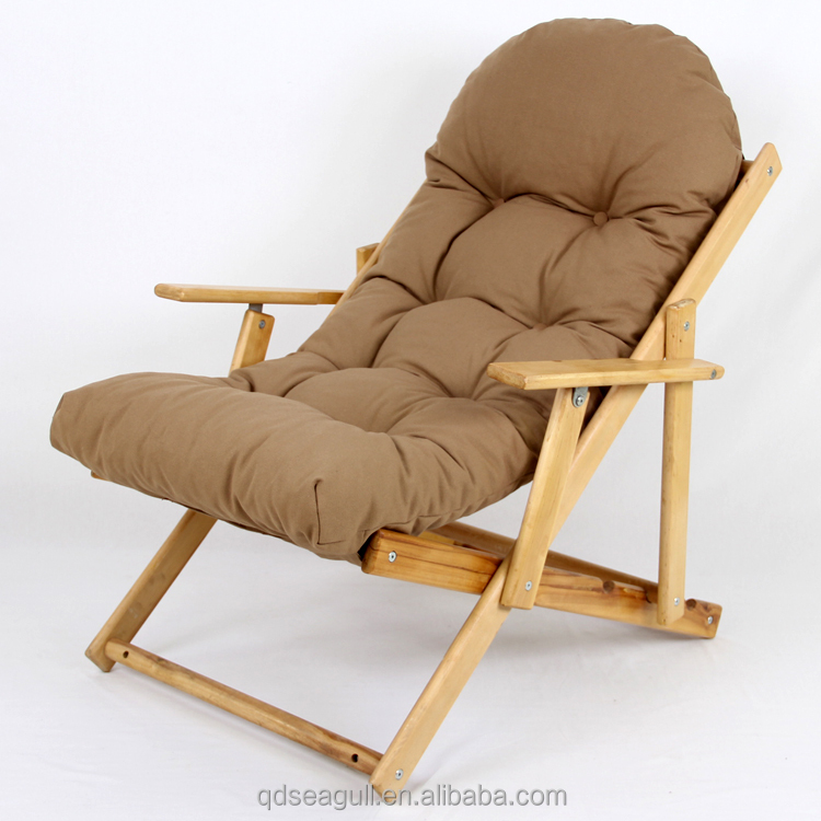 comfortable folding solid wood chaise cushion sponge lounge <strong>chair</strong>