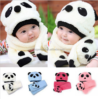 Cute Baby Wool Panda Style Cap Children Warm Head Hat Scarf Sets Kids Scarf Cartoon Infant Hat Plush Toy