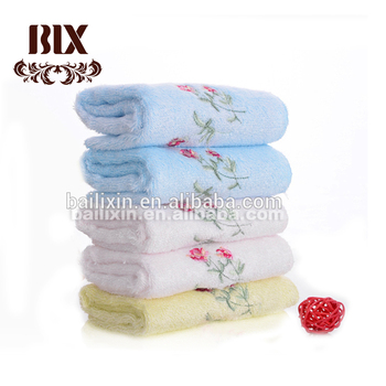 High quality Solid Color Bamboo Fiber Face Towel with Embroidery