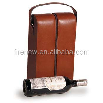 Faux Leather PU Wine Carrier Packaging Box for 2 Bottles