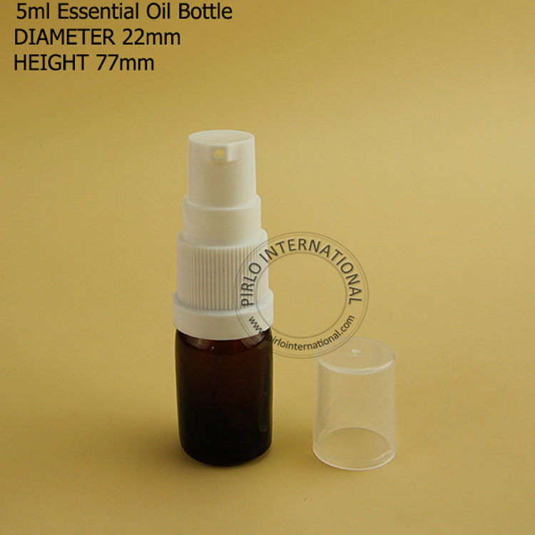 5ml Portable Glass Bottles Vials With Lotion Pump Cosmetic Container Amber Essential Oil Bottle