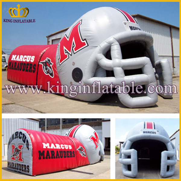 giant outdoor used inflatable sports tunnel /football tunnel /player helmet