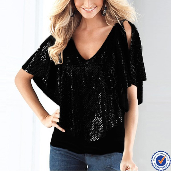 ladies hot images sexy design black sequin v-neck blouses