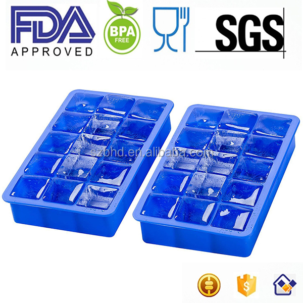 Eco-friendly ice maker mould 15 cavities soft silicone Ice Cube Tray with cover