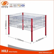 Metal dump bin display rack storage stand wire basket promotional racks