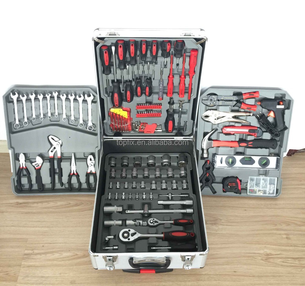 hand tool set 187pcs tool kit wihte case wrapping black plastic corner