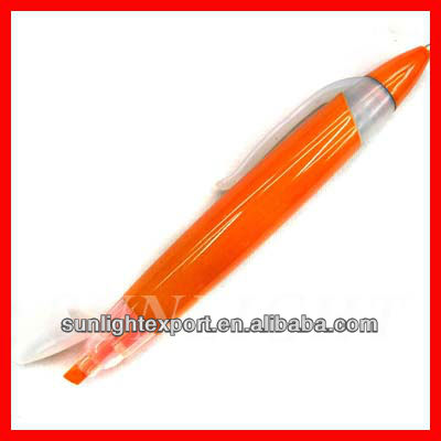 Orange plastic two-in-one highlighter pen 2 sided pen