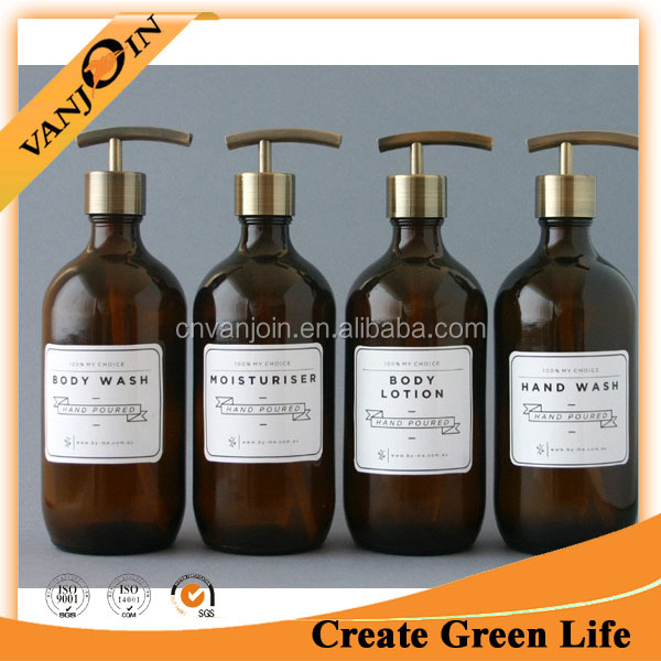 Top Quality Empty Round Amber Glass Lotion Bottle With Dispenser Pump For Hand Wash Bathroom Set