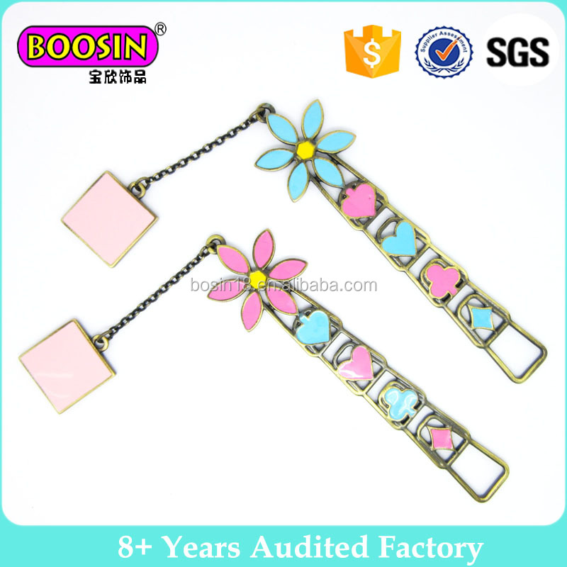 Colorful Enamel Flower Metal Bookmark With Charm Custom Bookmark Best Gift #B02641