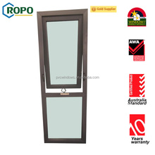 PVC Double glazed awning window with winder and mosquito net, Handcrank hinge window