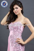Ready To Ship Evening Dress Sleeveless Long Pink Chiffon