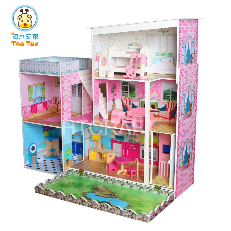 Deluxe Doll House Wooden With Garden In Front Door And 17 Sets Miniature Furniture Inside, High Quality Wooden Toys Doll House