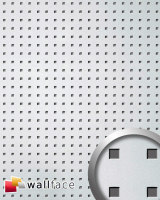 WallFace 10970 3D QUAD Wall panel square hole punched decor interior plate wallcovering self-adhesive silver | 2,60 qm