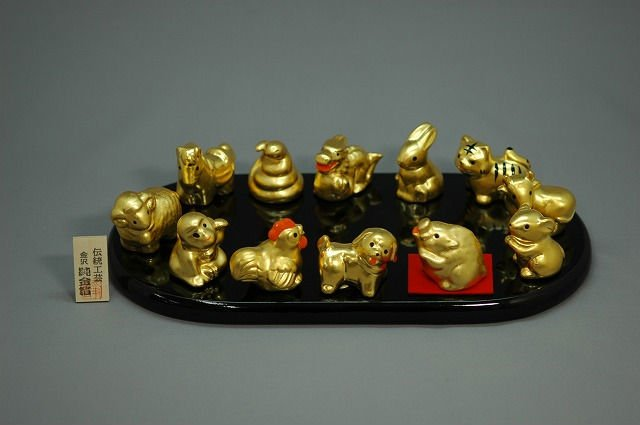 Japanese Traditional Kanazawa Gold Leaf Eto animal Figurines