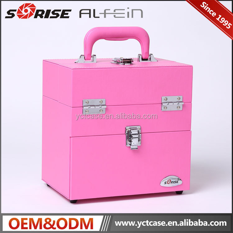 2017 newest Wholesale fashion professional portable cosmetic makeup vanity case with lighted mirror
