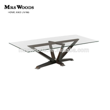 rectangular glass top dining table with metal base