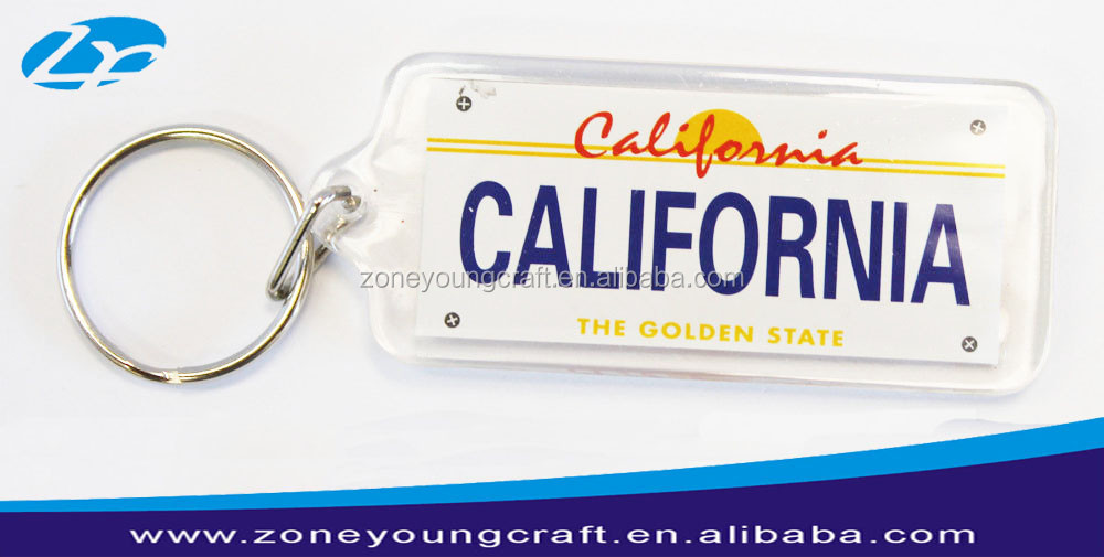 plastic california license keychain