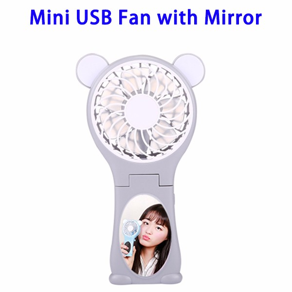 Amazon Top Selling Bear Shaped Multi-function Rechargeable Folding Mini USB Hand Fan with Mirror