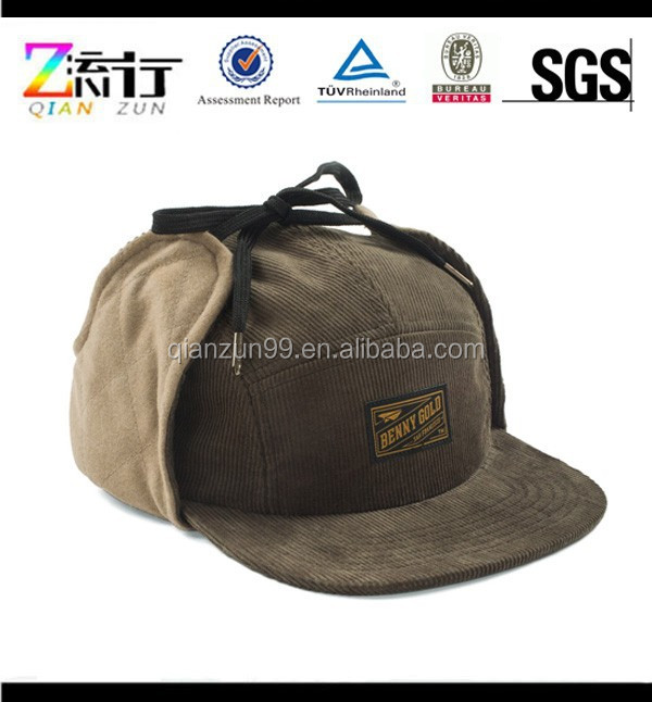 Design Your Own 5 Panel Fitted Hats Cap With Earflaps