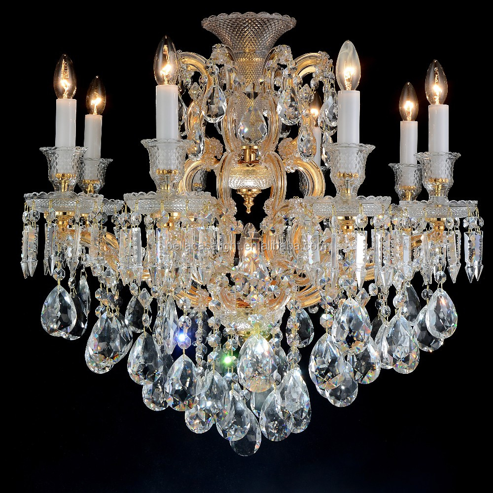 8 Lights Gold Color Finished Maria Theresa Crystal Chandelier