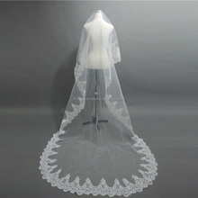 Hot sale free shipping long lace cathedral train wedding veils CWFav633