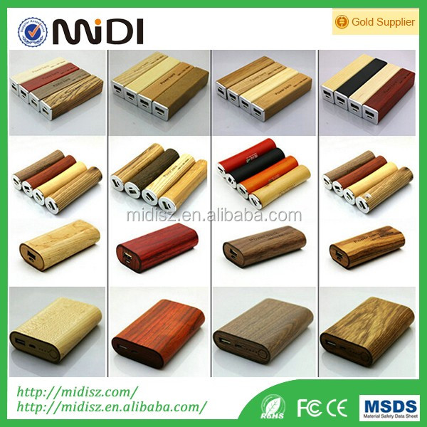 Power supply portable phone charger wooden power bank 2600mah for mobile phones