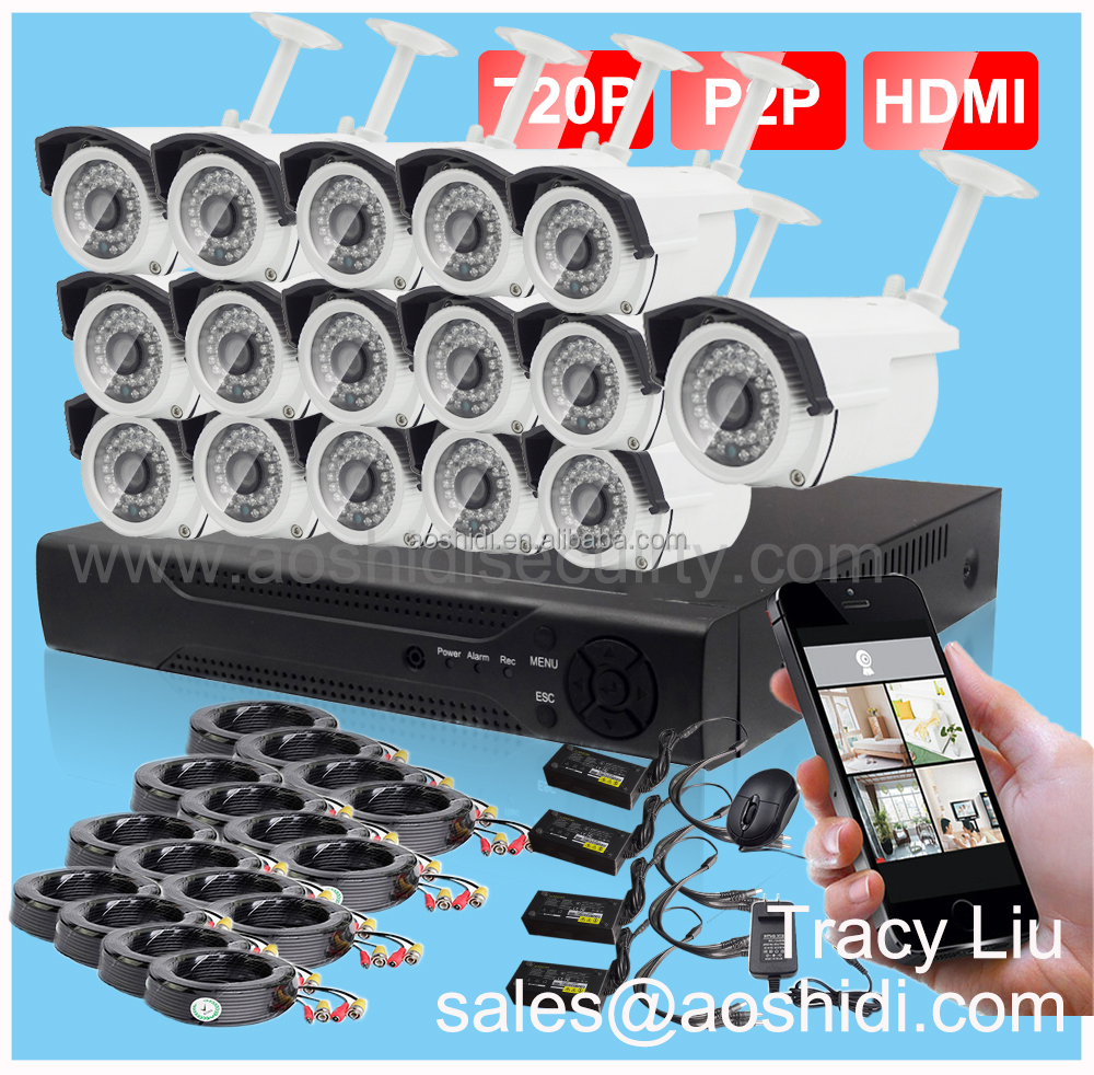 16CH outdoor remote Home cctv security system with 16 chanel DVR and 16 cameras