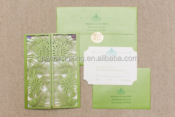 2016 newmengxing Laser Cut Destination Wedding Invitation, Tropical Leaves Wedding Invitation, Unique Laser Cut Wedding Invite